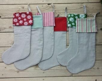 Gray Linen Christmas Stockings Striped, Polka Dot and Snowflake Cuff