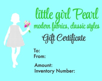 little girl Pearl Gift Certificate