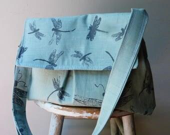 Robins Egg Blue Dragonfly Medium Messenger Bag - Dragonflies - Adjustable Strap - Pockets - Key Fob