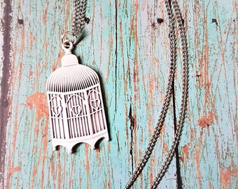 Bird Cage Necklace Birdcage Jewelry Vintage Style Pendant Rustic Shabby Chic Retro Antiqued Victorian White Charm Silver Chain FREE SHIPPING