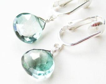 Light Bottle Green Teardrop Clip On Earrings, Pale Green Hydroquartz Drop Dangle Clipons for Non Pierced Ears, Silver Ear Clips, Dainty Moss