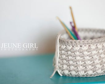 Set of 3 Soft crochet nesting bowls. Cat ear bowl and two basket weave bowls.