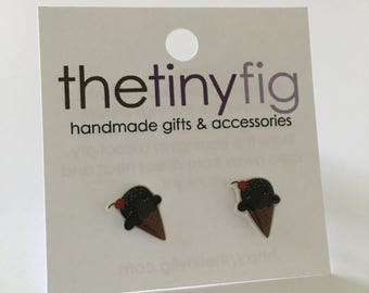 Last Pair* Chocolate Chip Ice Cream Earrings | Sterling Silver Posts Studs | Gifts For Her