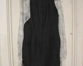 SALE Black Sheath Dress with open hanging, cape sleeves Altered Fashion | The Cherisse | Goth Strega Film Noir Enchantress