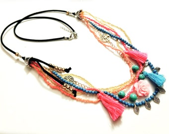 Misfit Multi Strand Necklace - Pink & Turquoise