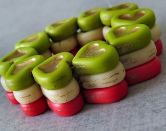 Czech Glass 14mm Picasso Heart Bead Mix : 6 pc Red Cream Chartreuse Heart Bead