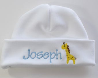 Monogrammed Baby Hat Personalized with Giraffe