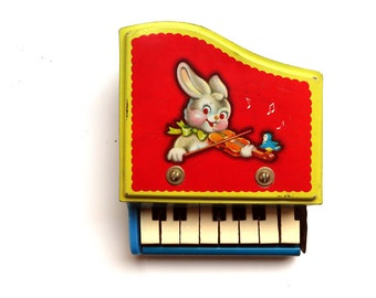 Vintage Tin Toy Piano Childs Instrument - Cute Bunny Litho 8 key - Nursery Decor Primary Colors