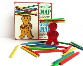 Vintage Wooden Stacking Concentration Building Game - Hema Vrolijke Jaap Childrens Wood Toy w Box - Family Game Night
