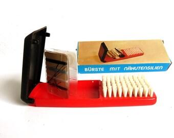 Vintage Sewing Kit and Hair Brush, Portable Travel Set, Seamstress Gift, Mending Notions Set, NOS New Old Stock w Original Box