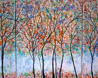 Original Painting  - 4 seasons trees  triptict -by Vadal  44 x 24