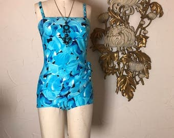 1960s swimsuit turquoise swimsuit size medium vintage bathing suit floral swimsuit 1960s romper