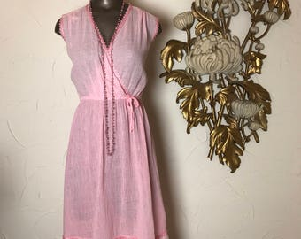 1970s dress pink dress gauze dress size medium vintage dress cotton dress beach dress bohemian dress