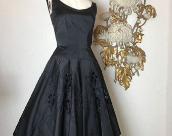 1950s dress black dress party dress size medium vintage dress soutache dress circle skirt formsl dress