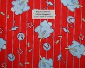 Baby Novelty Cotton fabric sluggers baseball bats elephant peanuts red grey