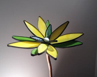 Yellow and blue  3-D large stained glass garden flowers - Gardener, Women, Man, Birthday, Valentines Day, Art, Handmade, Gifts