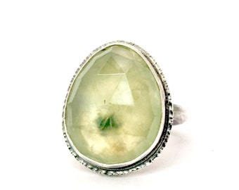 prehnite sterling silver ring size 7 protective stone