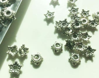 Sale - Antique Silver Pewter Star Caps,  6MM, PK48