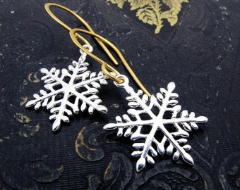 snowflake earrings, snow flake earrings, silver gold snowflake earrings, winter wedding, ice skating earrings, holiday jewelry, gift for her