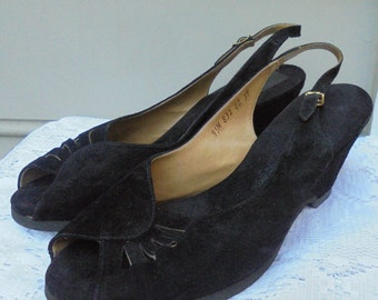 40s style  shoes black suede wedge pumps heels WW11 pin up rockabilly  8 8.5  from vintage opulence on Etsy