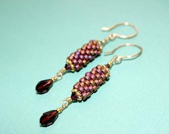 Peyote Dangle Earring and Swarovski Crystal