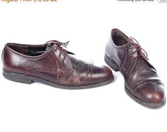 SALE . MEN OXFORD Shoes 80s Burgundy Brown Leather Distressed Look Brogues Cap Toe Lace Dress Derby Wide Fit Shoes for Mens Us Men 8.5 Eur 4