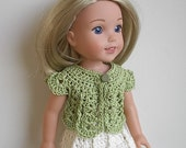 14.5 Inch Doll Clothes Crocheted Sweater Top Handmade to fit the Wellie Wishers and other similar dolls - Lime Green Sweater