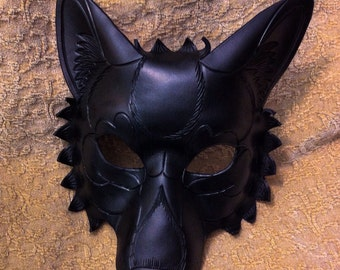 RESERVED for Jason.... Custom Solid Black Wolf leather mask