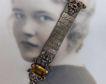 Vintage Brass Pin Revival Brooch Topaz Rhinestone Large