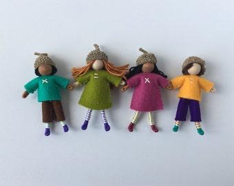 Acorn Cap Dolls-- set of four little woodland dolls