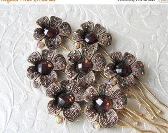 20% SALE Autumn Wedding Bridesmaid Hairpins Bronze Brown Rhinestone Hair Comb Amber Hairpiece Aurora Borealis Bohemian Chic Boho Accessories