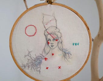 Myrine, an embroidered drawing
