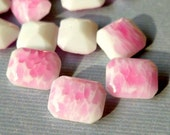 November Sale - 12 Vintage Czech 10x8mm White with Pink Spots Glass Faceted Jewels (55-4B-12)