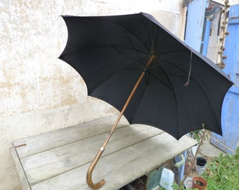 Vintage Antique1890/1900 Victorian French black silk and wood handle big size umbrella parasol