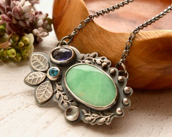 Silver Botanical Necklace, Chrysoprase Necklace, Iolite Necklace, Modern Boho Style, Hand Stamped Metalwork, Art Jewelry