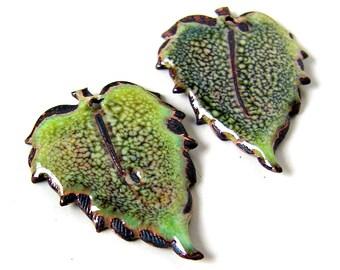 Green Enameled Leaf Charms
