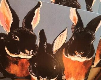 Black Velvet Bunnies Notecard Set from Original Painting Collage