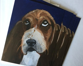 Not Unhappy Basset Hound Single Notecard from Original Painting Collage