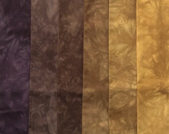 Purple - Brown - Gold Shades - hand dyed Fabric - 6 pc Fat Quarter Gradation Bundle - MYMP355