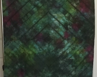 Hand Dyed Fabric - Green Blue  - 1 yard -  Modern Shibori Cotton - 342