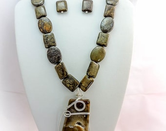 Bronzite Necklace, Earrings, and Pendant Set