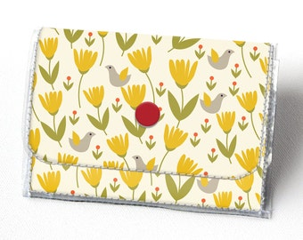 Handmade Vinyl Accordion Wallet - Scandinavian Summer 2/ folk, floral, small wallet, snap, cute, card case, vinyl wallet, women's wallet,