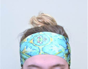 SMALL/MEDIUM Activewear Workout Headband in Teal Mosaic