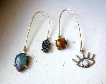 Trinket Mobile Earrings, Asymmetrical Statement Earrings