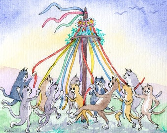 cats dancing around the maypole 8x10 art print from watercolor painting May Day folk festival Pentecost Whitsun Midsummer by Susan Alison