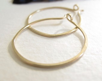 14k gold hoops forged endless hoop earrings rustic organic 1 inch round 18 gauge hammered