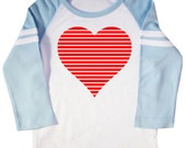 Valentine's Day Retro Heart Kids Raglan Jersey T-Shirt