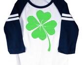 Lucky Four Leaf Clover St. Patrick's Day Shamrock Kids Raglan Jersey T-shirt