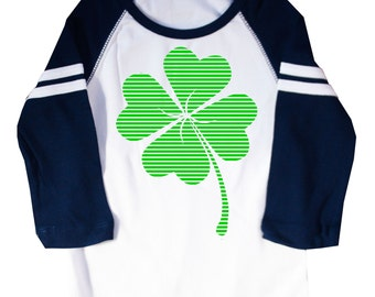 Lucky Four Leaf Clover Kids Raglan Jersey T-shirt