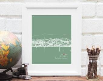 Burlington Vermont Skyline Art, Burlington Skyline Gift, Wedding Decor, Personalized City Skyline, Engagement Gift, Guestbook Idea